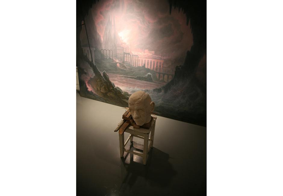 kg-Richard-Stipl_Platos-Revenge_Ceramic-Object_Head_Beige_30x32x32cm_Painted-Canvas_Landscape_3x2m